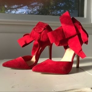 Red Bow Ankle Heels